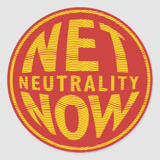 Net Neutrality Now - Yellow Classic Round Sticker