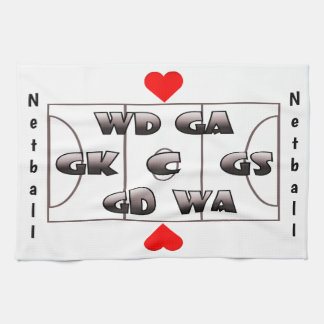 Netball Court and Positions Heart Design Kitchen Towel