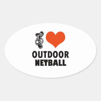 Netball design oval sticker