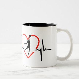 Netball heart beat design Two-Tone coffee mug