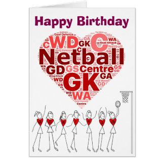 Netball Heart Positions Happy Birthday Card