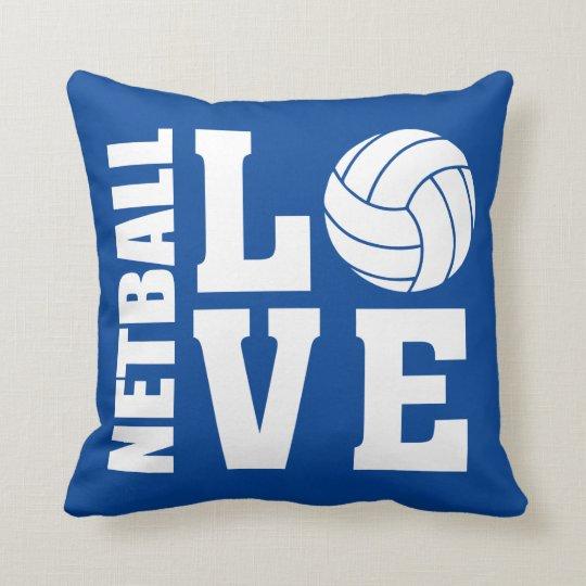 Netball Love Blue Netball Throw Pillow