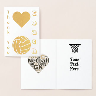 Netball Player Coach Thank You Gold Foil Card