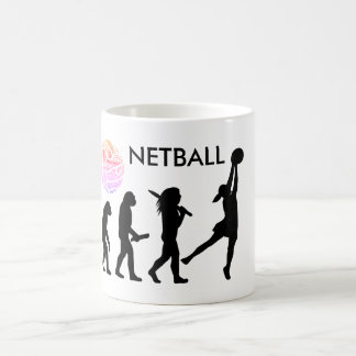 Netball Player Evolution Theme Silhouette Coffee Mug
