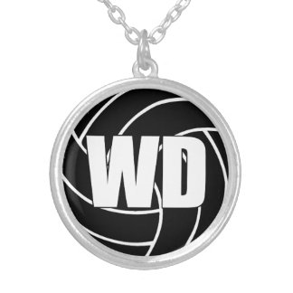 Netball Players Position, Wing Defence WD Silver Plated Necklace