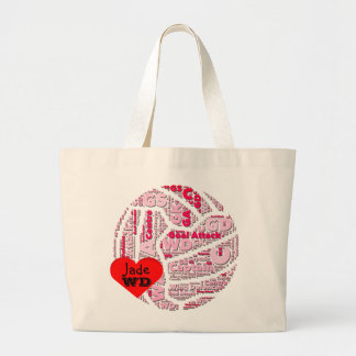Netball Positions Ball Design Personalised Large Tote Bag