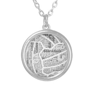 Netball Positions Ball Design Silver Plated Necklace