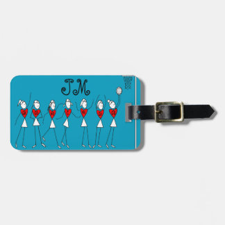 Netball Positions Heart Design Luggage Tag