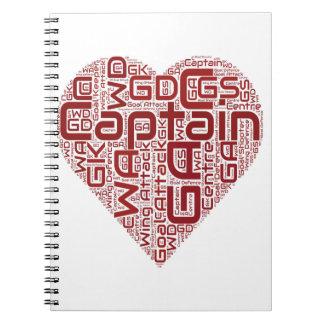 Netball Positions Heart Design Notebooks