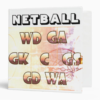 Netball Positions Themed Picture Print 3 Ring Binder