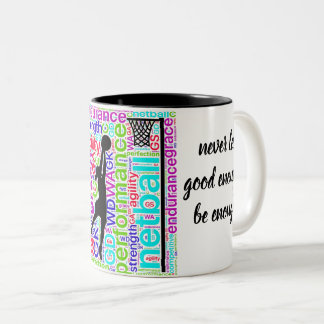 Netball Positions Words and Motivational Quote Two-Tone Coffee Mug