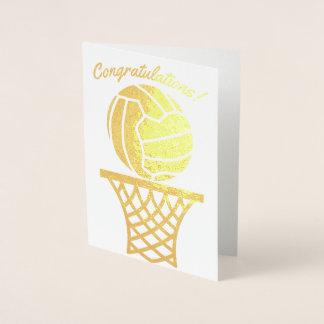 Netball Themed Ball Design Congratulations Foil Card