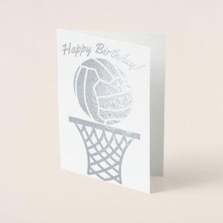 Netball Themed Ball Design Happy Birthday Foil Card
