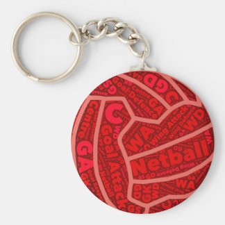 Netball Themed Red Typography Ball Design Keychain