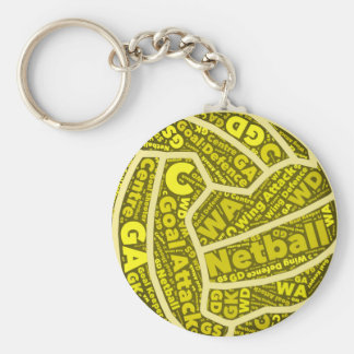 Netball Themed Yellow Typography Ball Design Keychain