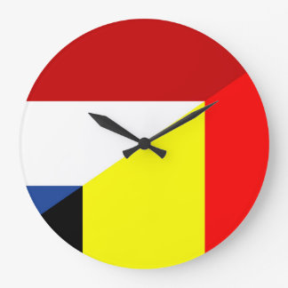 netherland belgium flag half country flag large clock