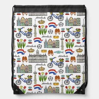 Netherland Doodle Pattern Drawstring Bag