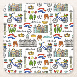Netherland Doodle Pattern Square Paper Coaster