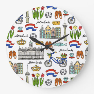 Netherland Doodle Pattern Wall Clock