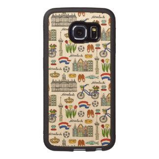 Netherland Doodle Pattern Wood Phone Case