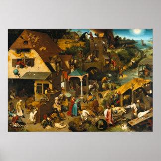 Netherlandish Proverbs by Pieter Bruegel the Elder Poster