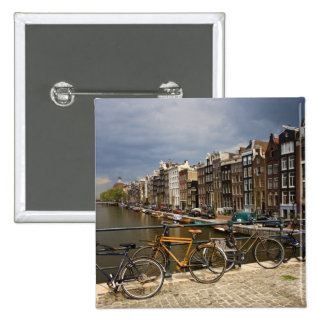 Netherlands, Amsterdam. View of canal from 2 Inch Square Button