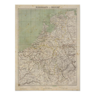Netherlands and Belgium Atlas Map Poster