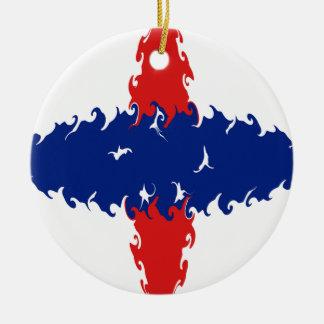 Netherlands Antilles Gnarly Flag Round Ceramic Ornament