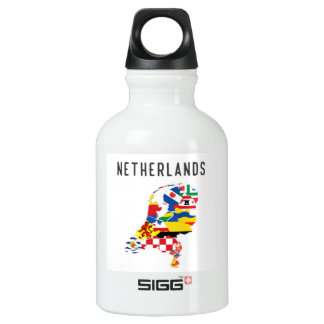 Netherlands country regions province flag map symb water bottle