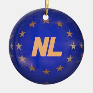 Netherlands E.U. Flag Custom Christmas Ornament