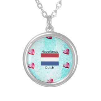 Netherlands Flag And Dutch Language Design Silver Plated Necklace