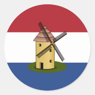 Netherlands Flag and Windmill Round Sticker