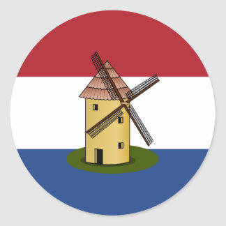 Netherlands Flag and Windmill Round Sticker