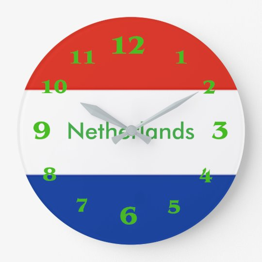 Netherlands flag for Round-Large-Wall-Clock Wallclocks