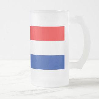 Netherlands Flag Frosted Glass Beer Mug