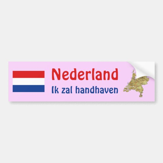 Netherlands Flag + Map Bumper Sticker