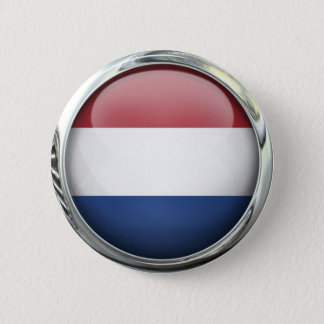 Netherlands Flag Round Glass Ball 2 Inch Round Button