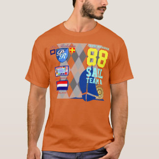 Netherlands Flag Sail Number 88 Nautical Argyle T-Shirt