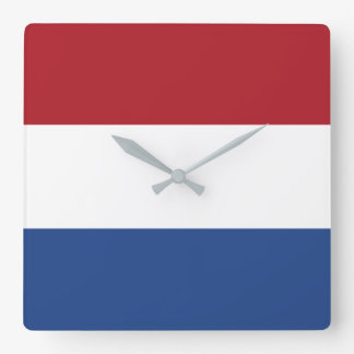 Netherlands Flag Square Wall Clock