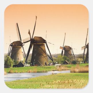 Netherlands, Kinderdijk. Windmills next to Square Sticker