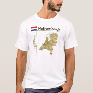 Netherlands Map + Flag + Title T-Shirt