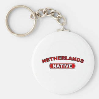 Netherlands Native Basic Round Button Keychain