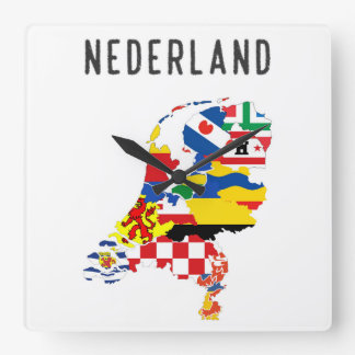 Netherlands nederland name text country regions pr square wall clock