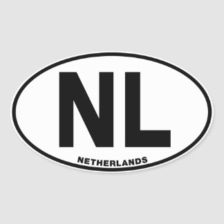 Netherlands NL Oval ID Identification Code Initial Oval Sticker