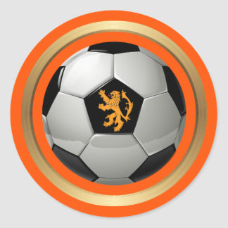 Netherlands Soccer Ball,Dutch Lion on Orange Classic Round Sticker