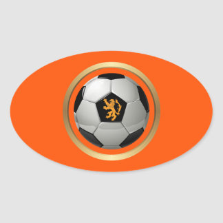Netherlands Soccer Ball,Dutch Lion on Orange Oval Sticker