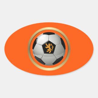 Netherlands Soccer Ball,Dutch Lion on Orange Oval Sticker