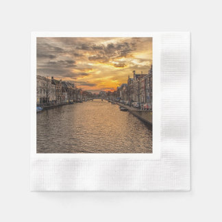 Netherlands waterway and houses at sunset napkin