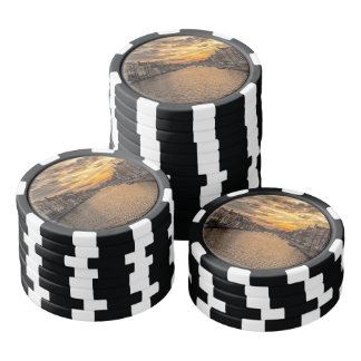 Netherlands waterway and houses at sunset poker chips