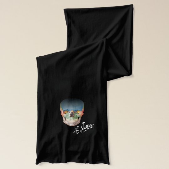 Netter Skull and Signature on Black Scarf